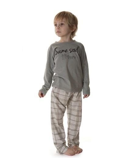 Hays Erkek Çocuk Ekose 2li Uzun Penye Pijama Takımı Gri